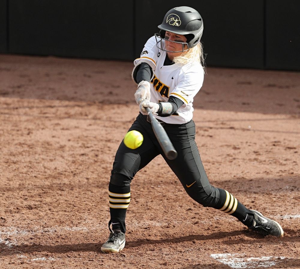 Iowa center fielder Havyn Monteer (21) bats during the third inning of their game against Illinois at Pearl Field in Iowa City on Friday, Apr. 12, 2019. (Stephen Mally/hawkeyesports.com)