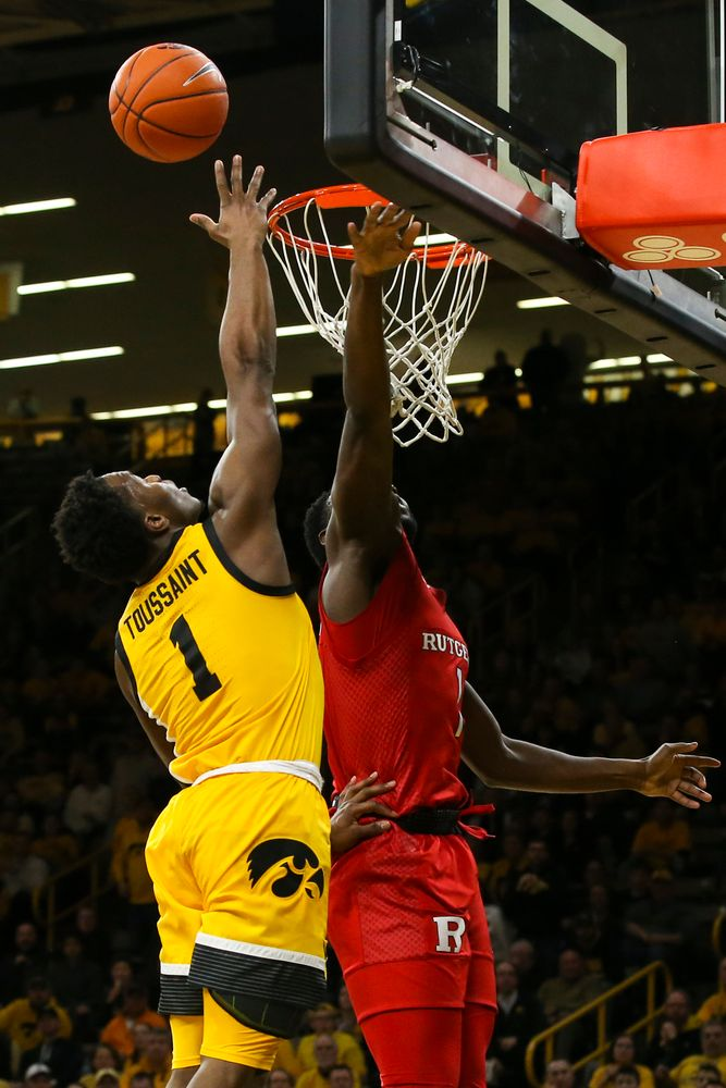 Iowa Hawkeyes guard Joe Toussaint (1) attempts a shot during the Iowa men's basketball game vs Rutgers on Wednesday, January 22, 2020 at Carver-Hawkeye Arena. (Lily Smith/hawkeyesports.com)
