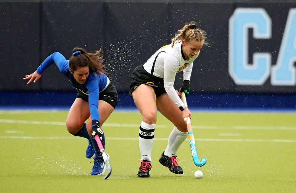 Iowa's Katie Birch (11) spins away from a defender during the first quarter of their NCAA Tournament First Round match against Duke at Karen Shelton Stadium in Chapel Hill, N.C. on Friday, Nov 15, 2019. (Stephen Mally/hawkeyesports.com)