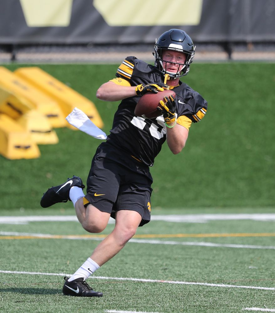 Iowa Hawkeyes wide receiver Max Cooper (19) during the third practice of fall camp Sunday, August 5, 2018 at the Kenyon Football Practice Facility. (Brian Ray/hawkeyesports.com)