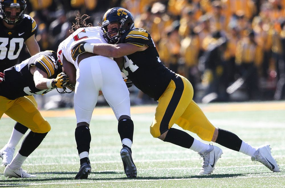 Iowa Hawkeyes linebacker Kristian Welch (34) makes a tackle during a game against Maryland at Kinnick Stadium on October 20, 2018. (Tork Mason/hawkeyesports.com)