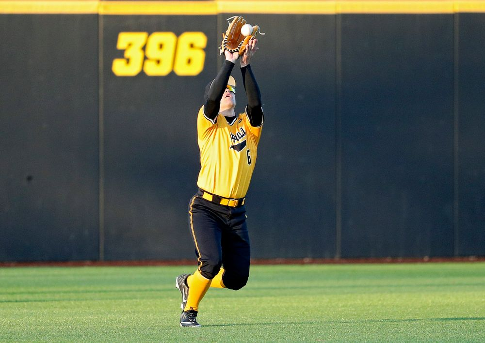Iowa Hawkeyes center fielder Justin Jenkins (6) pulls in a fly ball for an out during the ninth inning of their game at Duane Banks Field in Iowa City on Tuesday, Apr. 2, 2019. (Stephen Mally/hawkeyesports.com)