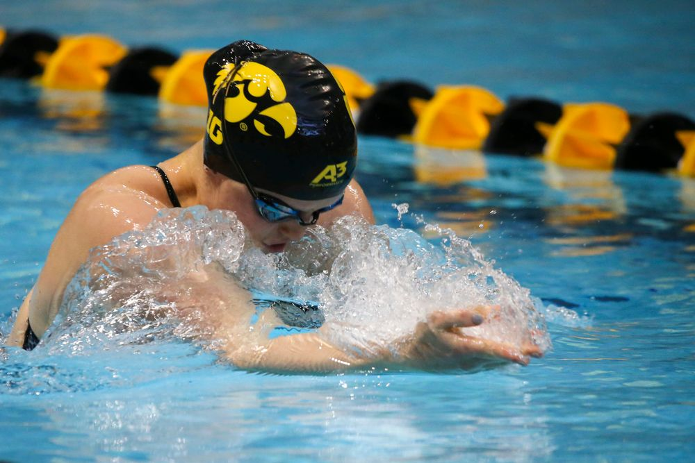 Erin Lang during Iowa women's swimming and diving vs Rutgers on Friday, November 8, 2019 at the Campus Wellness and Recreation Center. (Lily Smith/hawkeyesports.com)