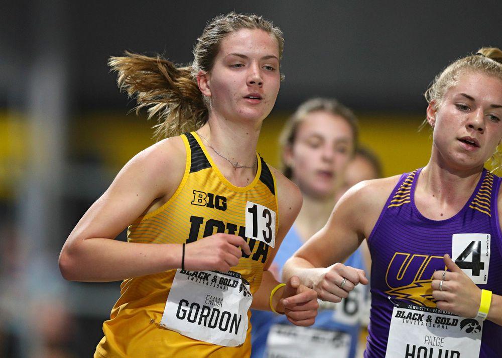 Iowa's Emma Gordon runs the women's 1 mile run event at the Black and Gold Invite at the Recreation Building in Iowa City on Saturday, February 1, 2020. (Stephen Mally/hawkeyesports.com)