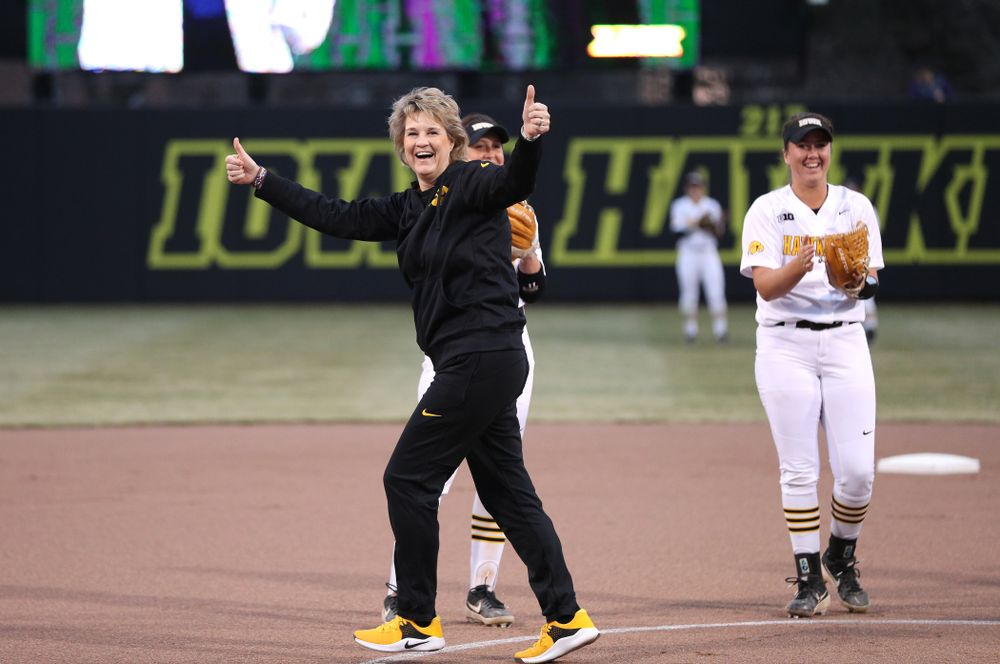Iowa Women's Basketball Head Coach Lisa Bluder throws out a first pitch before the Iowa Hawkeyes game against Western Illinois Wednesday, March 27, 2019 at Pearl Field. (Brian Ray/hawkeyesports.com)