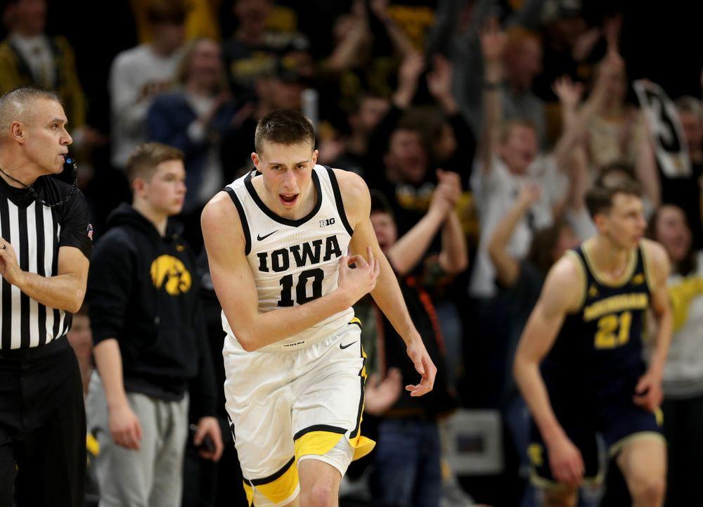 Iowa Hawkeyes guard Joe Wieskamp (10) celebrates a three point basket gainst the Michigan Wolverines Friday, January 17, 2020 at Carver-Hawkeye Arena. (Brian Ray/hawkeyesports.com)