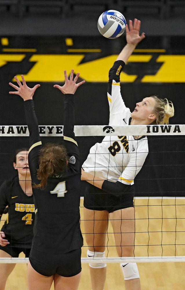 Iowa's Kyndra Hansen (8) goes up for a shot during the second set of their Big Ten/Pac-12 Challenge match against Colorado at Carver-Hawkeye Arena in Iowa City on Friday, Sep 6, 2019. (Stephen Mally/hawkeyesports.com)