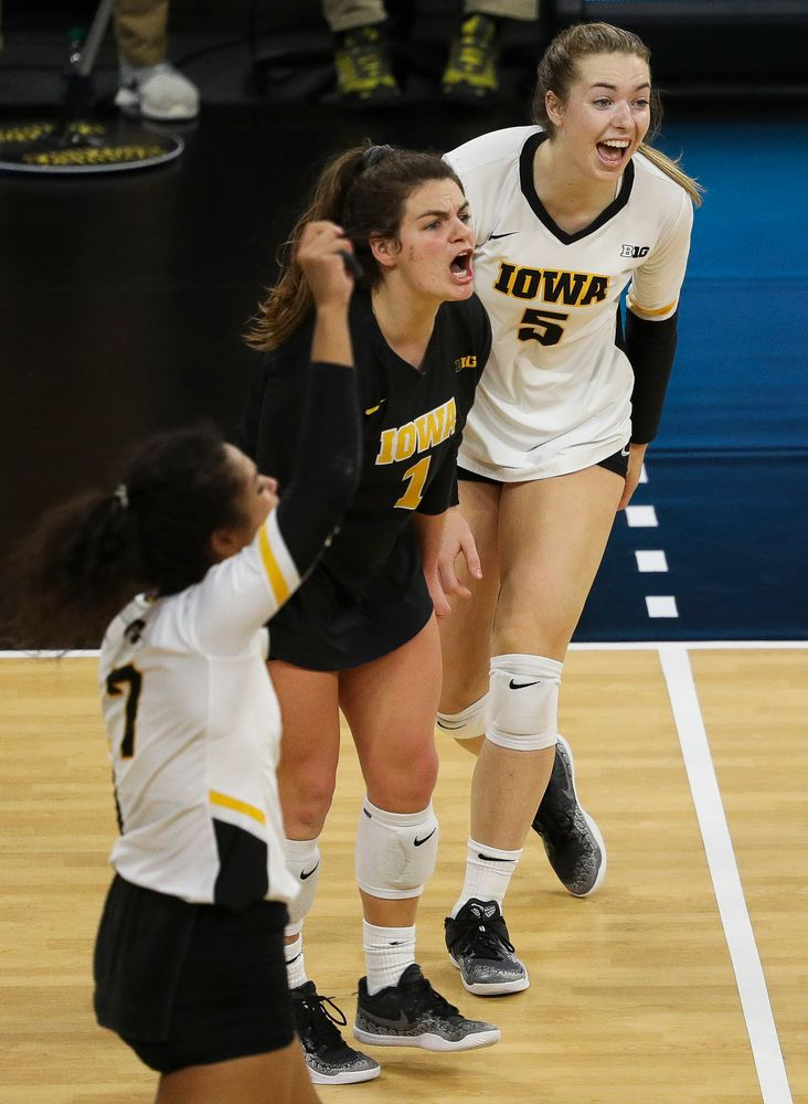 Iowa Hawkeyes outside hitter Meghan Buzzerio (5) celebrates after winning a point during a match against Maryland at Carver-Hawkeye Arena on November 23, 2018. (Tork Mason/hawkeyesports.com)