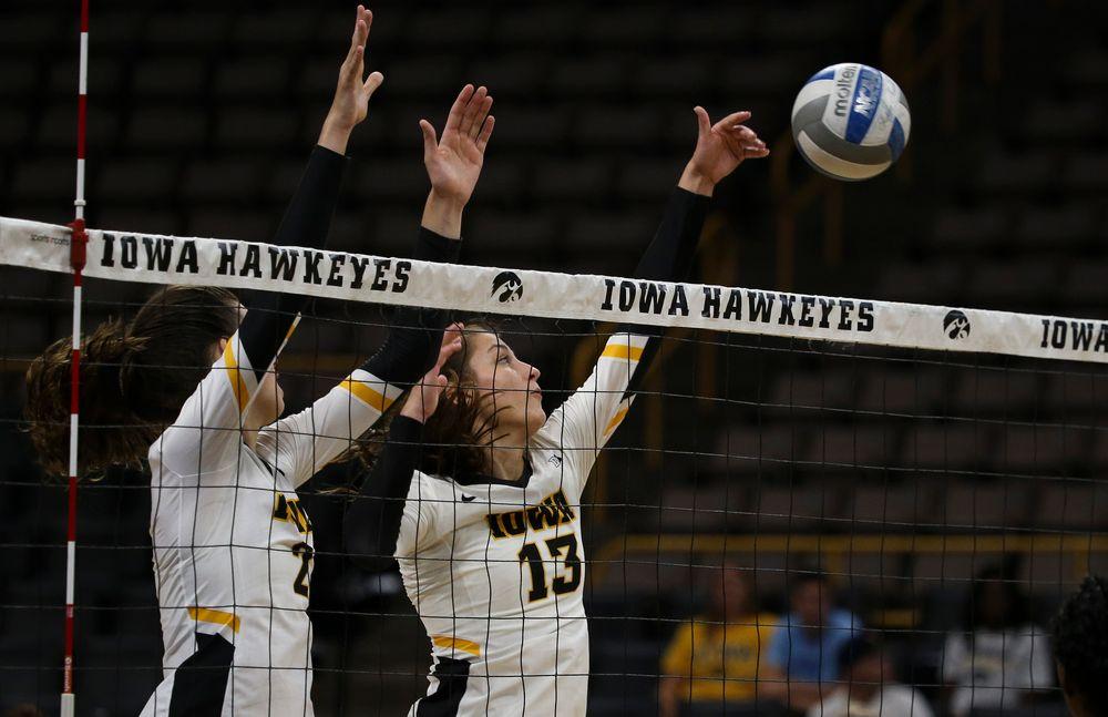 Iowa Hawkeyes middle blocker Sara Wing (13)