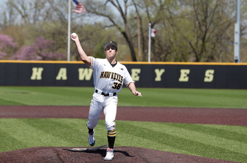 against the Oklahoma State Cowboys Saturday, May 5, 2018 at Duane Banks Field. (Brian Ray/hawkeyesports.com)Iowa All American Wrestler Michael Kemerer throws out a first pitch before the Iowa Hawkeyes game against the Oklahoma State Cowboys Saturday, May 5, 2018 at Duane Banks Field. (Brian Ray/hawkeyesports.com)