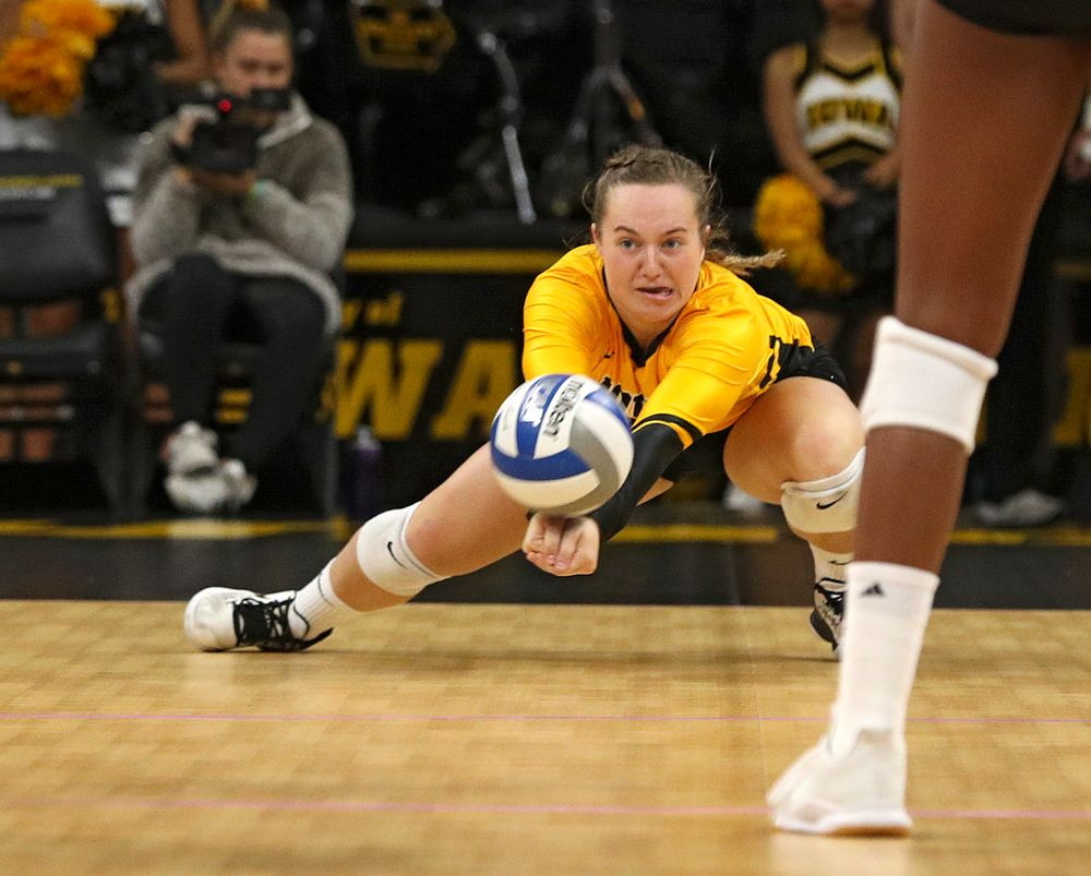 Iowa's Joslyn Boyer (1) gets a dig during their match at Carver-Hawkeye Arena in Iowa City on Sunday, Oct 20, 2019. (Stephen Mally/hawkeyesports.com)