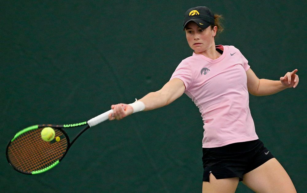 Iowa's Elise van Heuvelen Treadwell plays a doubles match against Purdue at the Hawkeye Tennis and Recreation Complex in Iowa City on Friday, Mar. 29, 2019. (Stephen Mally/hawkeyesports.com)