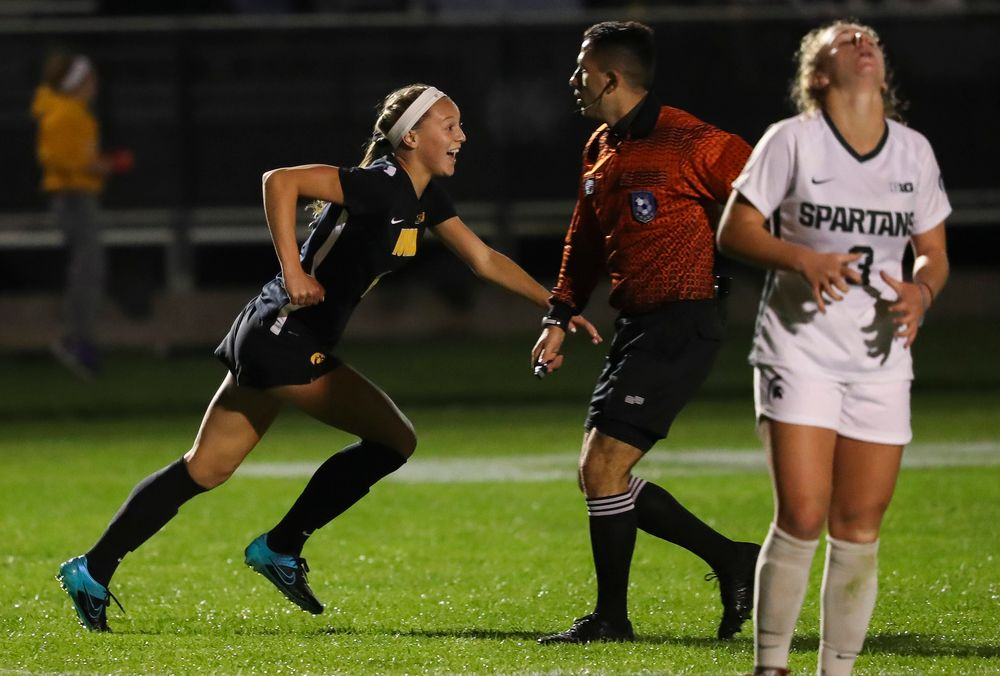 Iowa Hawkeyes midfielder Hailey Rydberg (2) celebrates after scoring a goal during a game against Michigan State at the Iowa Soccer Complex on October 12, 2018. (Tork Mason/hawkeyesports.com)