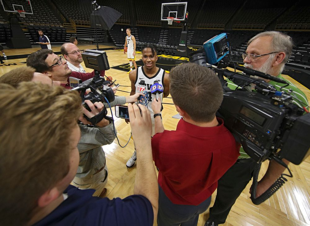 Iowa Hawkeyes guard Bakari Evelyn (4) answers questions during Iowa Men's Basketball Media Day at Carver-Hawkeye Arena in Iowa City on Wednesday, Oct 9, 2019. (Stephen Mally/hawkeyesports.com)