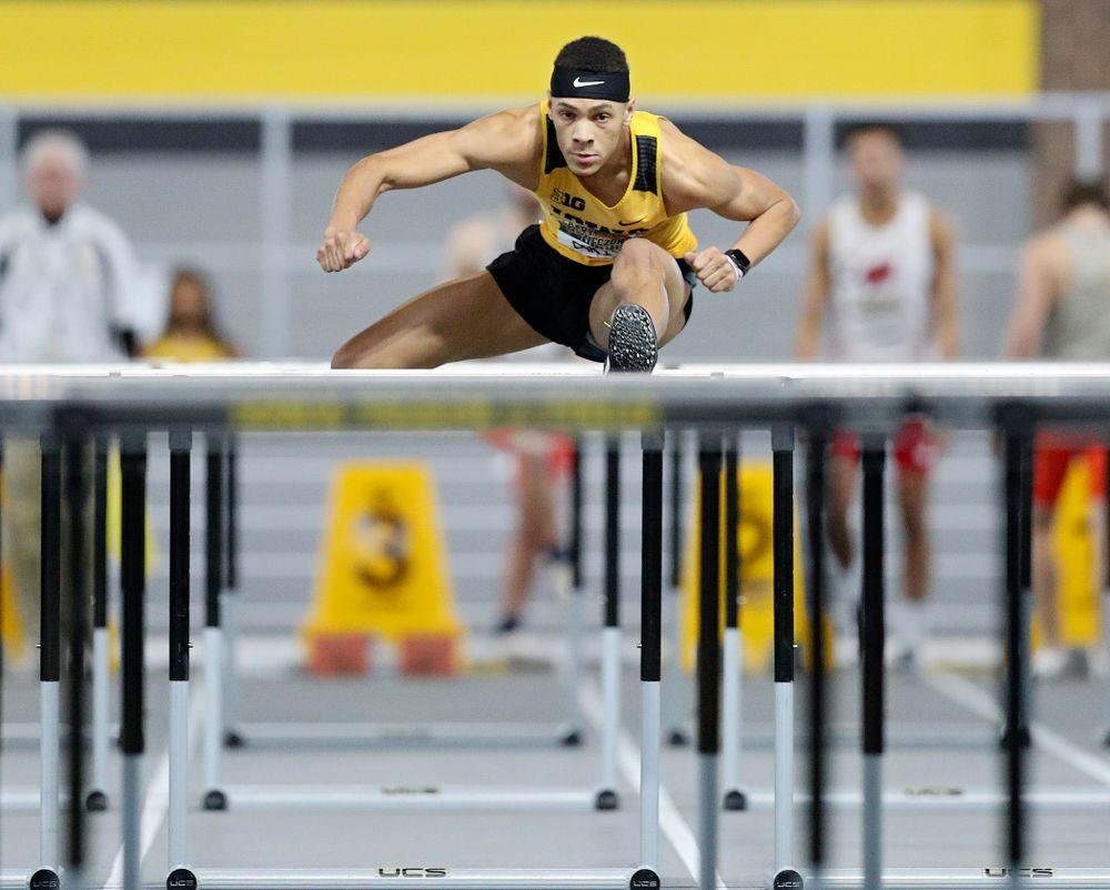 Iowa's Jamal Britt runs the men's 60 meter hurdles premier preliminary event during the Larry Wieczorek Invitational at the Recreation Building in Iowa City on Saturday, January 18, 2020. (Stephen Mally/hawkeyesports.com)