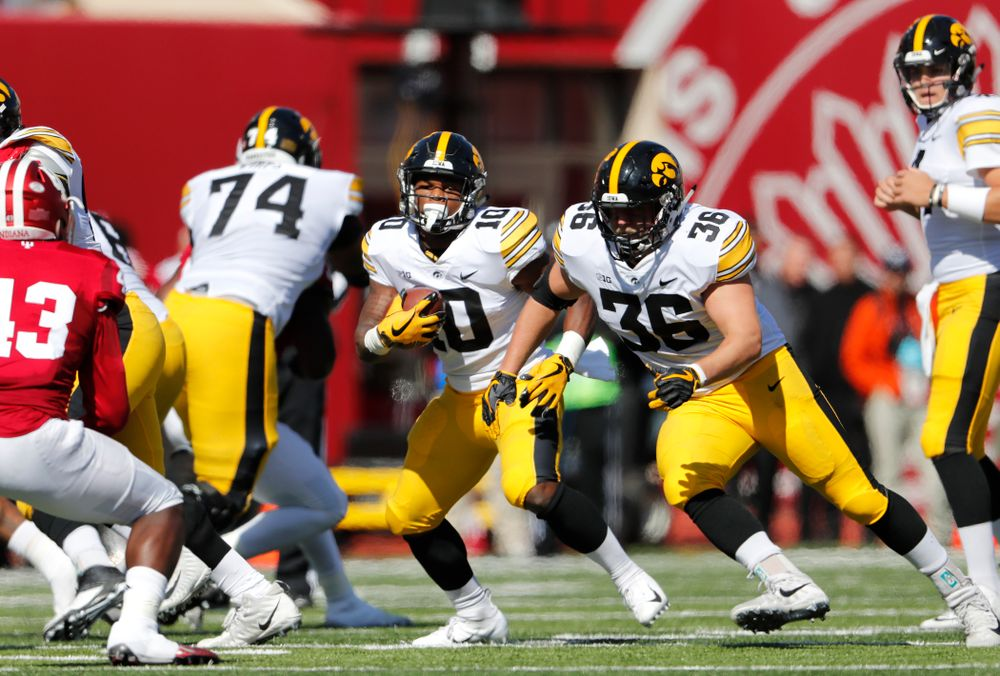 Iowa Hawkeyes running back Mekhi Sargent (10) and fullback Brady Ross (36) against the Indiana Hoosiers Saturday, October 13, 2018 at Memorial Stadium, in Bloomington, Ind. (Brian Ray/hawkeyesports.com)