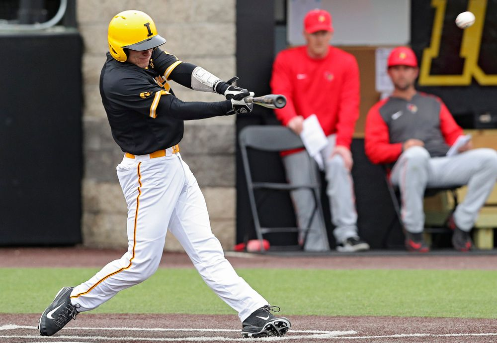 Iowa Hawkeyes catcher Austin Martin (34) hits an RBI double during the first inning of their game against Illinois State at Duane Banks Field in Iowa City on Wednesday, Apr. 3, 2019. (Stephen Mally/hawkeyesports.com)