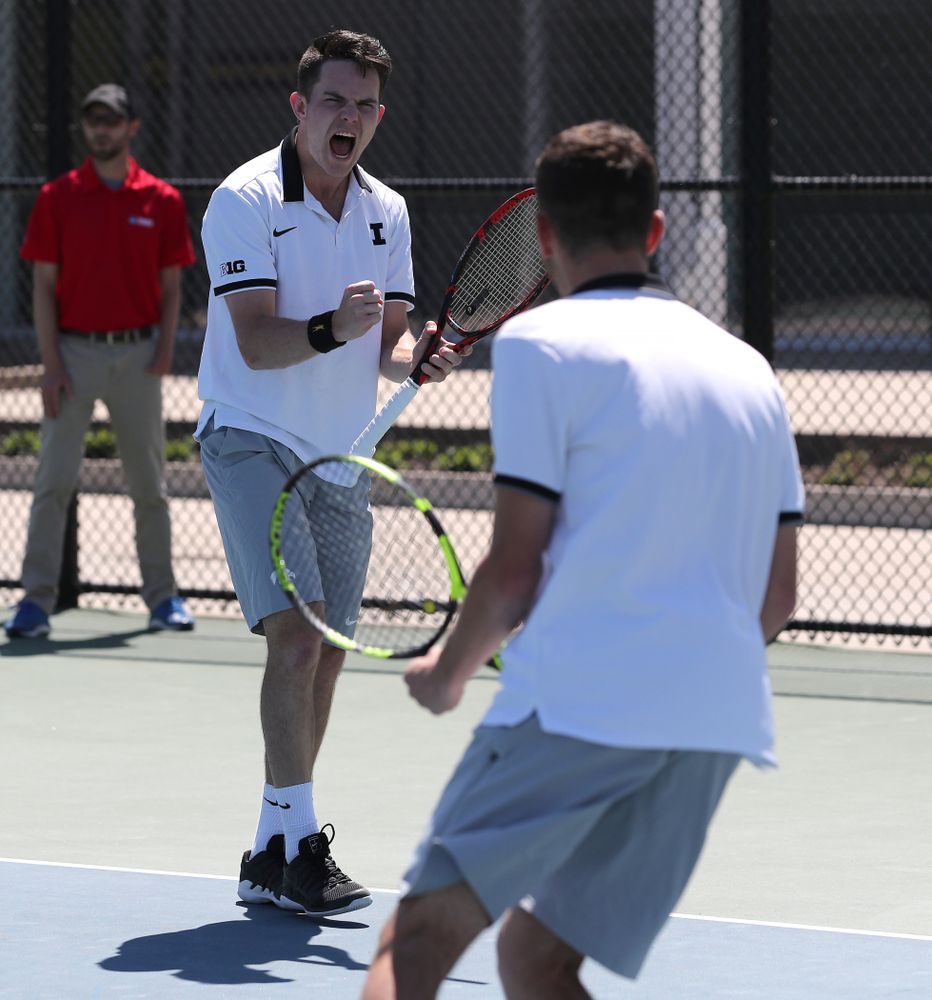 IowaÕs Kareem Allaf and Jonas Larsen play a doubles match against the Michigan Wolverines Sunday, April 21, 2019 at the Hawkeye Tennis and Recreation Complex. (Brian Ray/hawkeyesports.com)