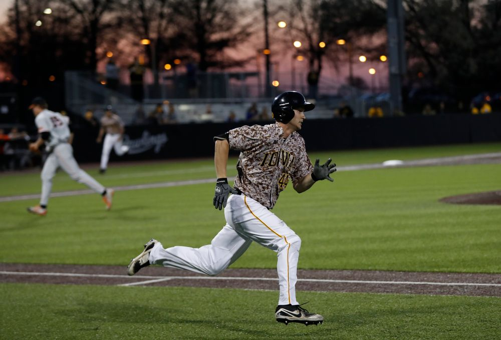 Iowa Hawkeyes outfielder Robert Neustrom (44) during the Iowa Hawkeyes game against Oklahoma State Friday, May 4, 2018 at Duane Banks Field. (Brian Ray/hawkeyesports.com)