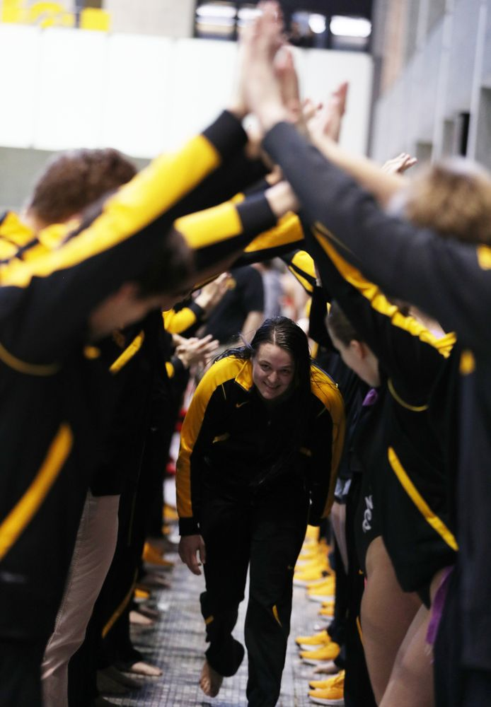 Jacintha Thomas is introduced during senior day before a double dual against Wisconsin and Northwestern Saturday, January 19, 2019 at the Campus Recreation and Wellness Center. (Brian Ray/hawkeyesports.com)
