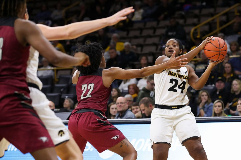 Iowa Hawkeyes guard Zion Sanders (24) looks to pass during a game against North Carolina Central at Carver-Hawkeye Arena on November 17, 2018. (Tork Mason/hawkeyesports.com)