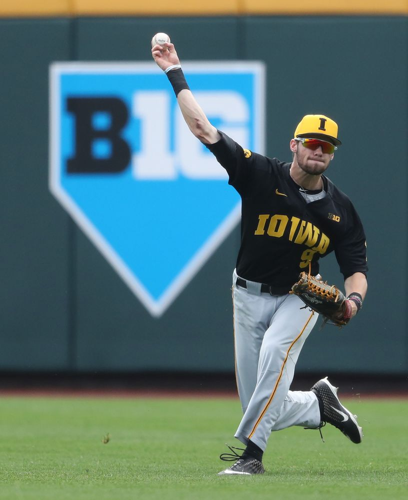 Iowa Hawkeyes outfielder Ben Norman (9) against the Nebraska Cornhuskers in the first round of the Big Ten Baseball Tournament Friday, May 24, 2019 at TD Ameritrade Park in Omaha, Neb. (Brian Ray/hawkeyesports.com)