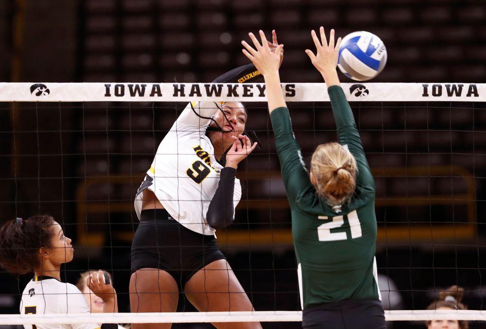 Iowa Hawkeyes middle blocker Amiya Jones (9) against the Michigan State Spartans Friday, September 21, 2018 at Carver-Hawkeye Arena. (Brian Ray/hawkeyesports.com)