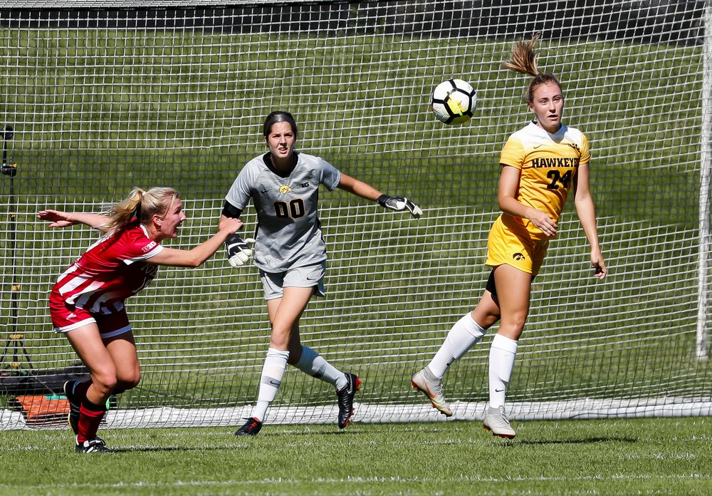 Iowa Hawkeyes defender Sara Wheaton (24) heads the ball away from the goal during a game against Indiana at the Iowa Soccer Complex on September 23, 2018. (Tork Mason/hawkeyesports.com)