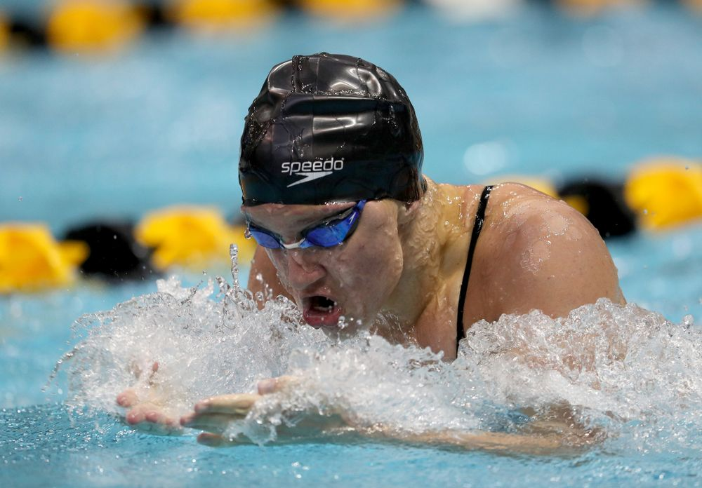 IowaÕs Sage Ohlensehlen competes in the 100 yard breaststroke against Notre Dame and Illinois Saturday, January 11, 2020 at the Campus Recreation and Wellness Center.  (Brian Ray/hawkeyesports.com)