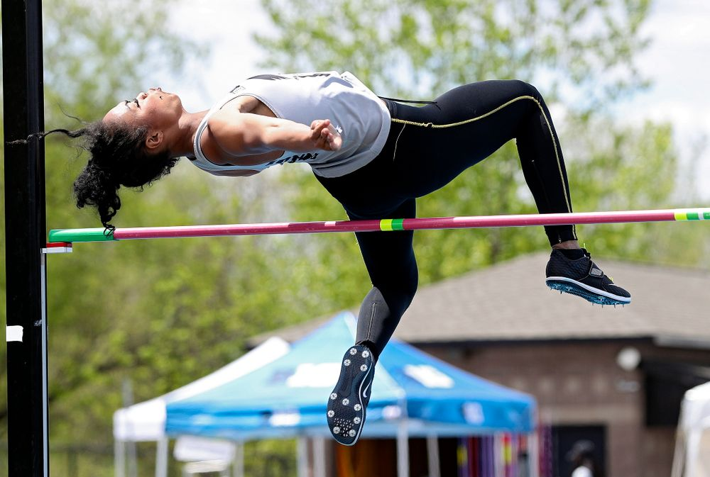 Iowa's Tria Simmons jumps during the women's high jump in the heptathlon event on the first day of the Big Ten Outdoor Track and Field Championships at Francis X. Cretzmeyer Track in Iowa City on Friday, May. 10, 2019. (Stephen Mally/hawkeyesports.com)