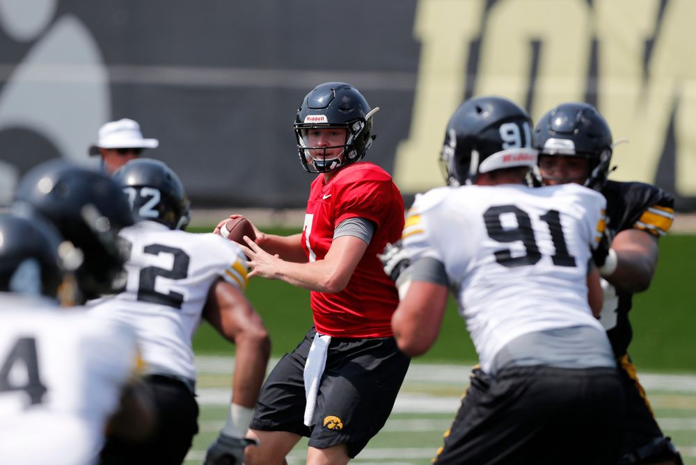 Iowa Hawkeyes quarterback Spencer Petras (7) during fall camp practice No. 9 Friday, August 10, 2018 at the Kenyon Practice Facility. (Brian Ray/hawkeyesports.com)