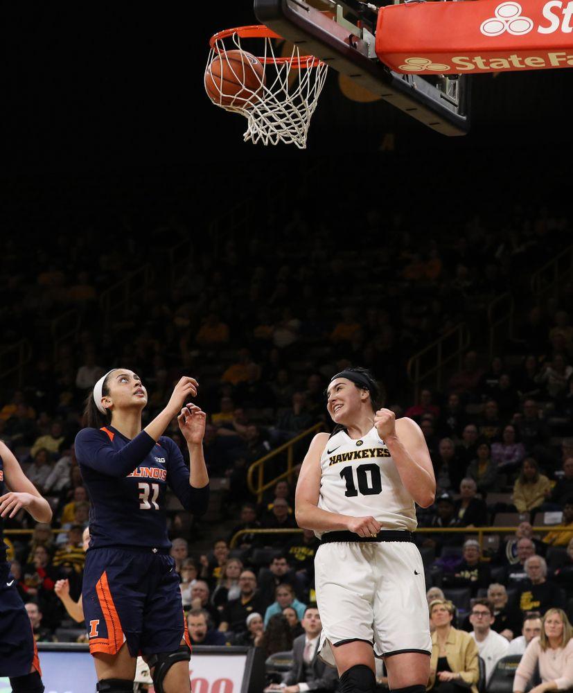 Iowa Hawkeyes forward Megan Gustafson (10) against the Illinois Fighting Illini Thursday, February 14, 2019 at Carver-Hawkeye Arena. (Brian Ray/hawkeyesports.com)
