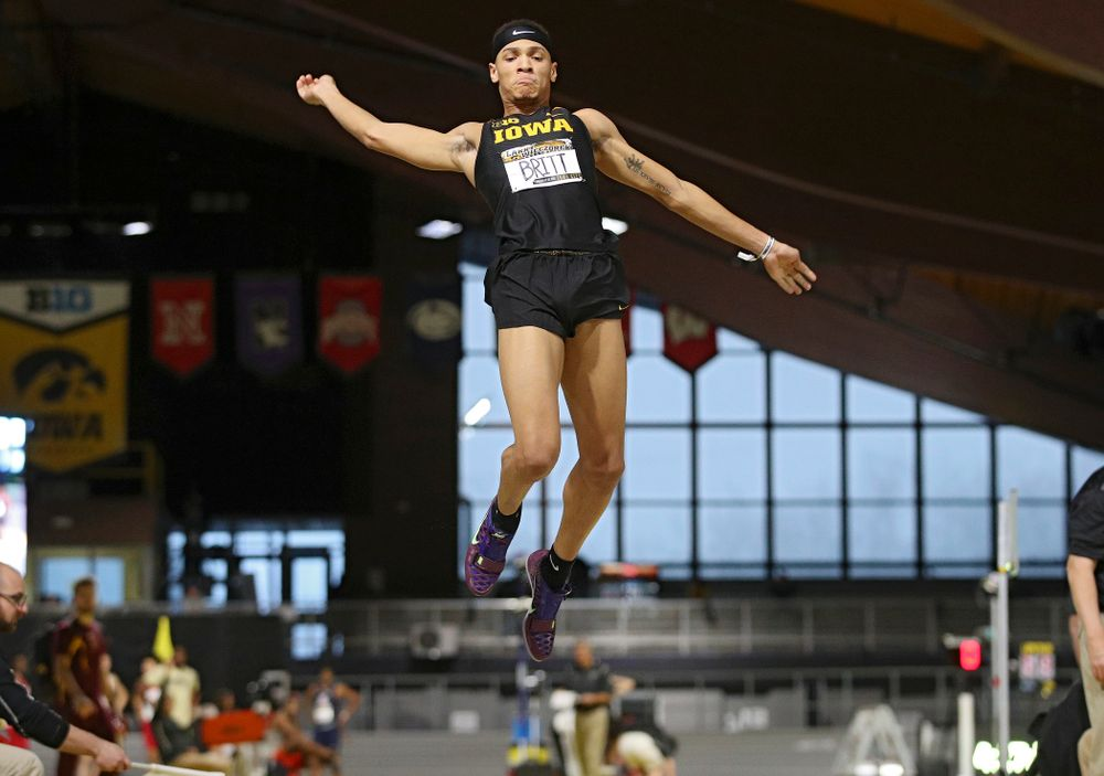 Iowa's Jamal Britt competes in the men's long jump event during the Larry Wieczorek Invitational at the Recreation Building in Iowa City on Friday, January 17, 2020. (Stephen Mally/hawkeyesports.com)