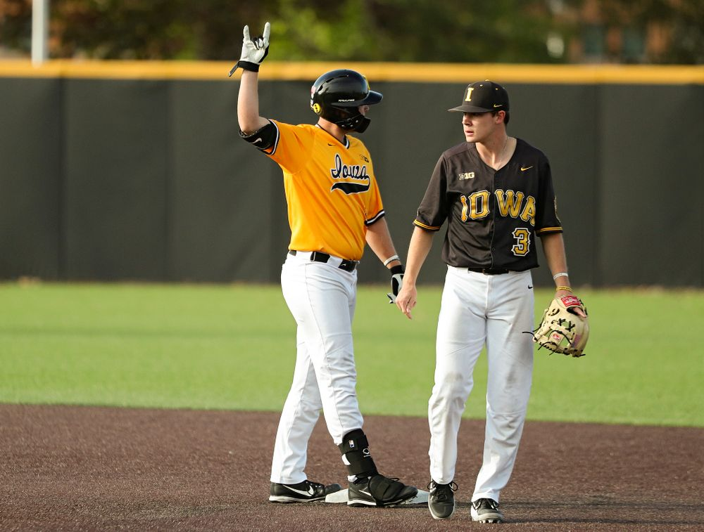 Iowa's Zeb Adreon (5) celebrates after hitting a 2-run double during the third inning of the first game of the Black and Gold Fall World Series at Duane Banks Field in Iowa City on Tuesday, Oct 15, 2019. (Stephen Mally/hawkeyesports.com)