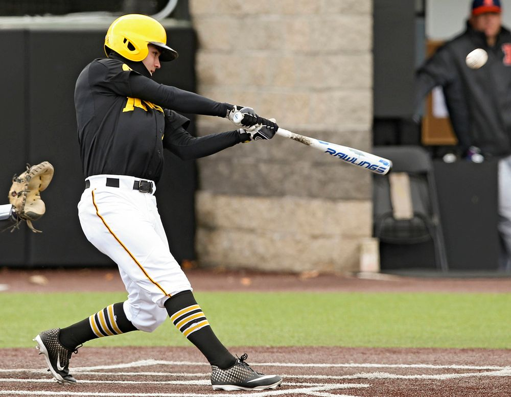 Iowa Hawkeyes center fielder Justin Jenkins (6) bats during the second inning of their game against Illinois at Duane Banks Field in Iowa City on Saturday, Mar. 30, 2019. (Stephen Mally/hawkeyesports.com)