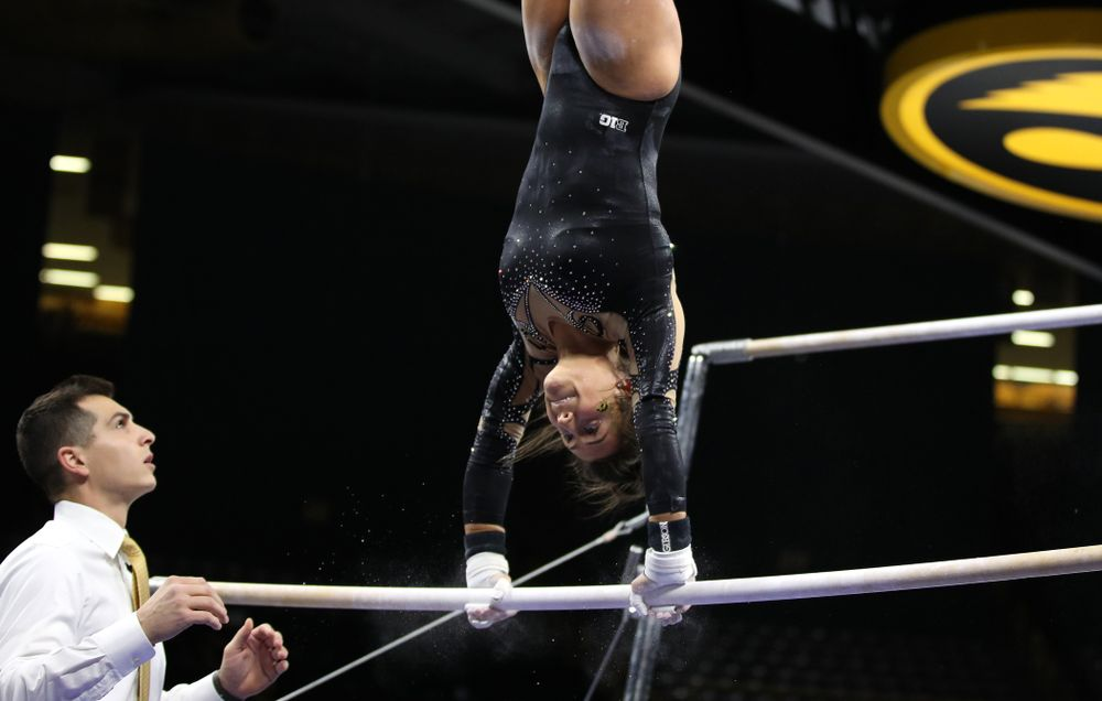 Iowa's Jax Kranitz competes on the bars during their meet against Southeast Missouri State Friday, January 11, 2019 at Carver-Hawkeye Arena. (Brian Ray/hawkeyesports.com)
