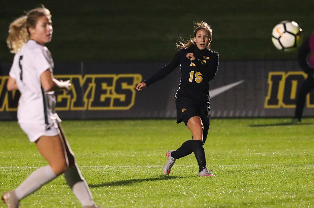 Iowa Hawkeyes forward Rose Ripslinger (15) takes a shot during a game against Michigan State at the Iowa Soccer Complex on October 12, 2018. (Tork Mason/hawkeyesports.com)