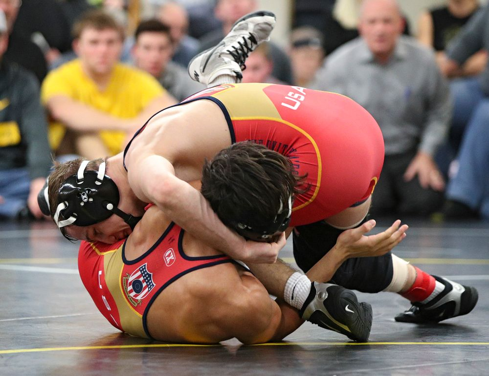 Iowa's Spencer Lee (top) works on top of Aaron Cashman during their preseason match at the Dan Gable Wrestling Complex at Carver-Hawkeye Arena in Iowa City on Thursday, Nov 7, 2019. (Stephen Mally/hawkeyesports.com)
