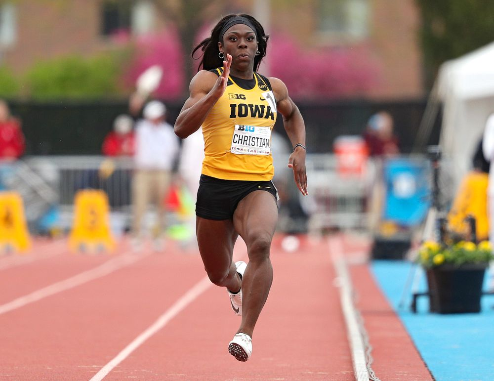 Iowa's Antonise Christian runs the women's 100 meter dash event on the third day of the Big Ten Outdoor Track and Field Championships at Francis X. Cretzmeyer Track in Iowa City on Sunday, May. 12, 2019. (Stephen Mally/hawkeyesports.com)