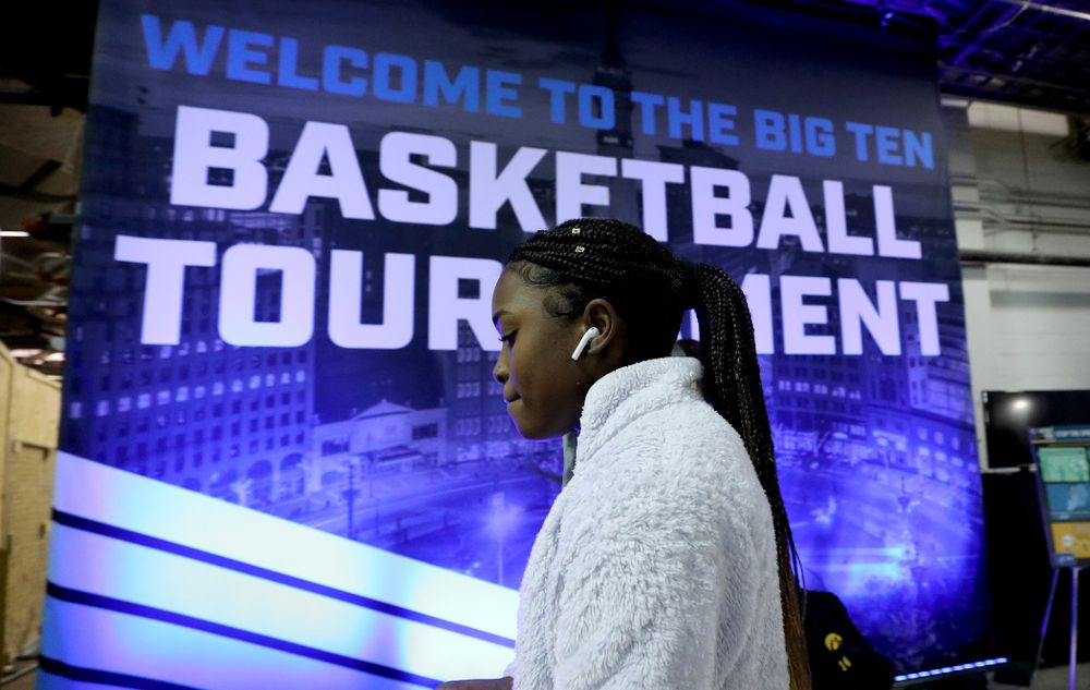 Iowa Hawkeyes guard Tomi Taiwo  (1) arrives for their game against Ohio State in the quarterfinals of the Big Ten Basketball Tournament Friday, March 6, 2020 at Bankers Life Fieldhouse in Indianapolis. (Brian Ray/hawkeyesports.com)