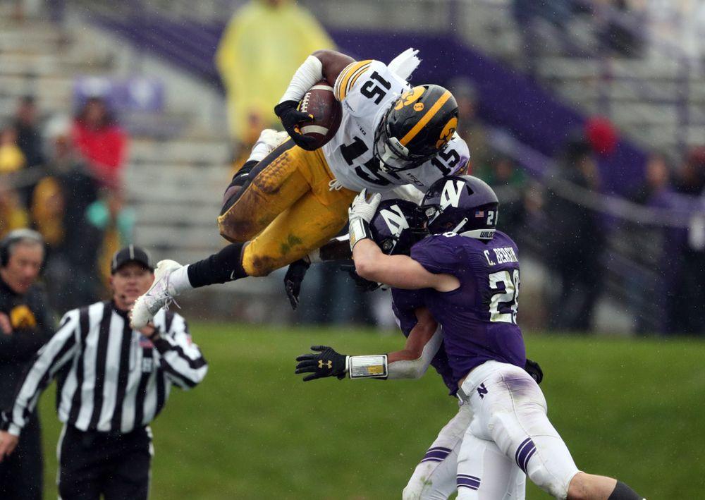 Iowa Hawkeyes running back Tyler Goodson (15) against the Northwestern Wildcats Saturday, October 26, 2019 at Ryan Field in Evanston, Ill. (Brian Ray/hawkeyesports.com)