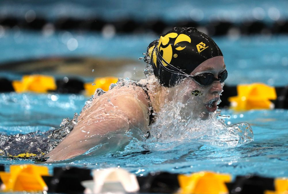 Iowa's Kelsey Drake swims the 100-yard butterfly against the Iowa State Cyclones in the Iowa Corn Cy-Hawk Series Friday, December 7, 2018 at at the Campus Recreation and Wellness Center. (Brian Ray/hawkeyesports.com)