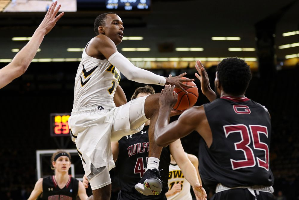 Iowa Hawkeyes guard Maishe Dailey (1) makes a pass in the lane during a game against Guilford College at Carver-Hawkeye Arena on November 4, 2018. (Tork Mason/hawkeyesports.com)