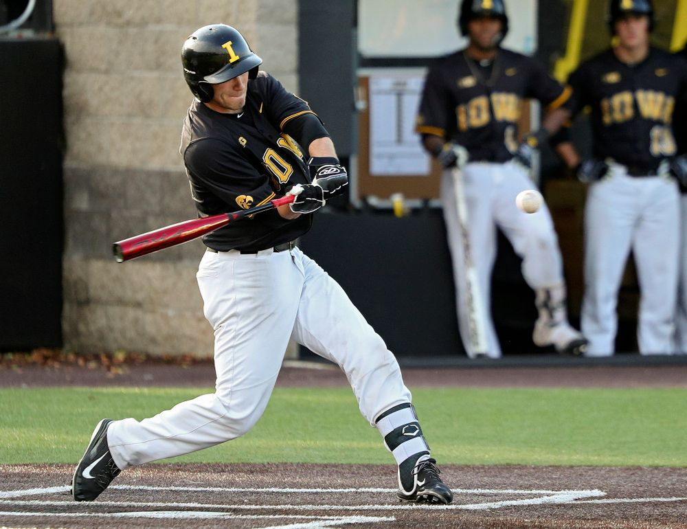 Iowa catcher Austin Martin (34) drives a pitch for a hit during the fourth inning of the first game of the Black and Gold Fall World Series at Duane Banks Field in Iowa City on Tuesday, Oct 15, 2019. (Stephen Mally/hawkeyesports.com)