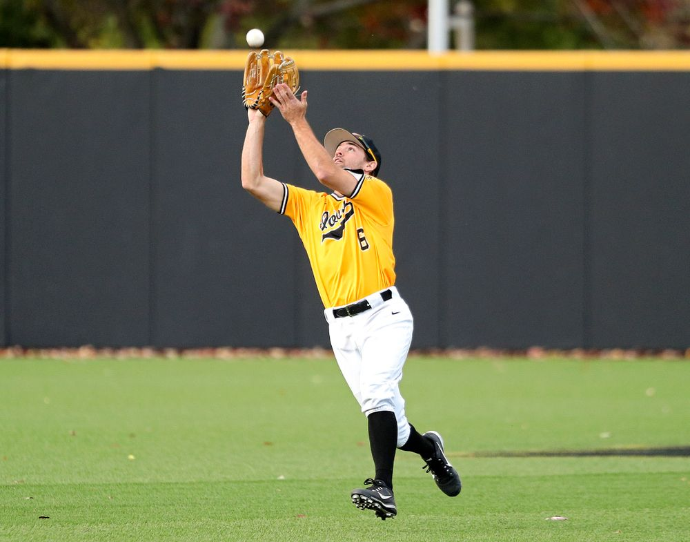 Iowa outfielder Justin Jenkins (6) pulls in a fly ball for an out during the fifth inning of the first game of the Black and Gold Fall World Series at Duane Banks Field in Iowa City on Tuesday, Oct 15, 2019. (Stephen Mally/hawkeyesports.com)