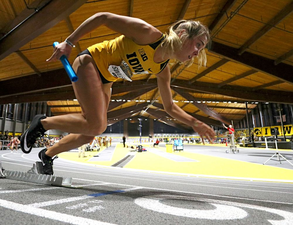 Iowa's Addie Swanson runs the women's 1600 meter relay event during the Larry Wieczorek Invitational at the Recreation Building in Iowa City on Saturday, January 18, 2020. (Stephen Mally/hawkeyesports.com)