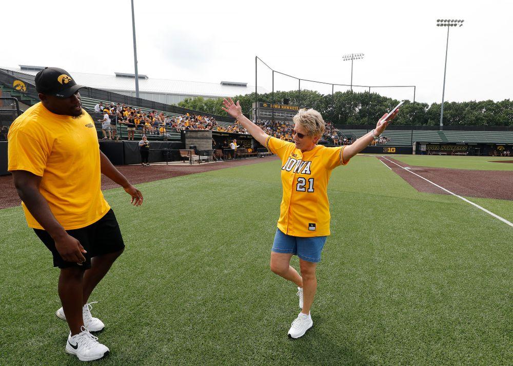 Deputy Director of Athletics Barbara Burke during the Iowa Student Athlete Kickoff Kickball game  Sunday, August 19, 2018 at Duane Banks Field. (Brian Ray/hawkeyesports.com)