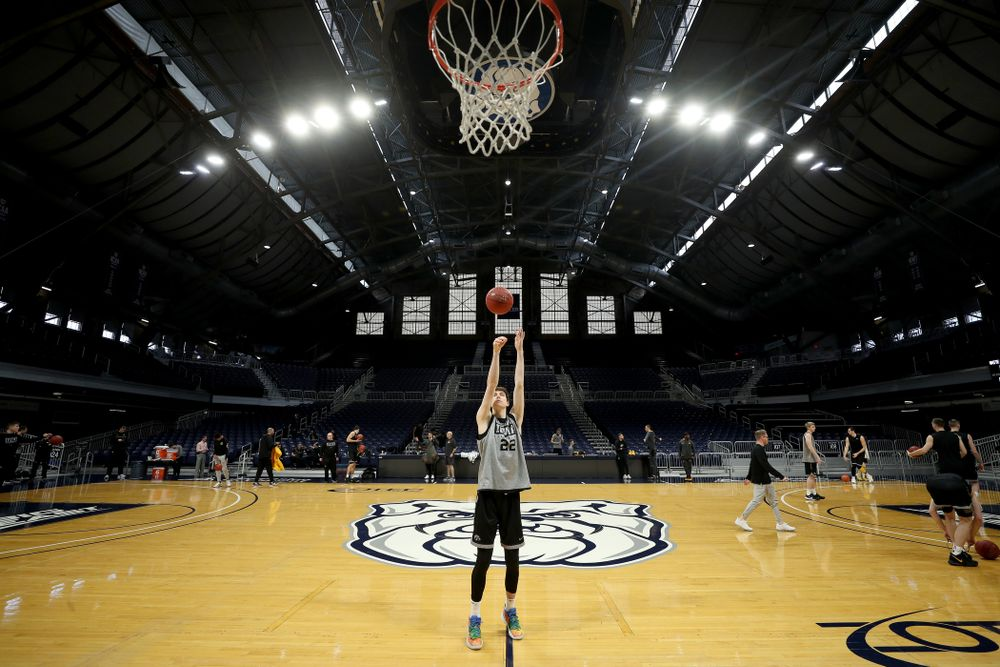 Iowa Hawkeyes forward Patrick McCaffery (22) during practice at Hinkle Fieldhouse  Wednesday, March 11, 2020 in Indianapolis. (Brian Ray/hawkeyesports.com)