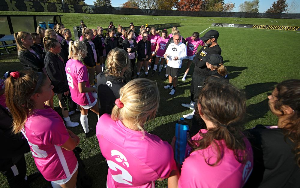 Iowa head coach Dave DiIanni talks with his team after winning their match in double overtime at the Iowa Soccer Complex in Iowa City on Sunday, Oct 27, 2019. (Stephen Mally/hawkeyesports.com)