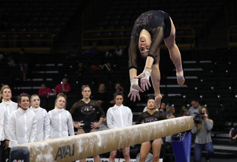 Iowa's Alex Greenwald competes on the beam during their meet against the Minnesota Golden Gophers Saturday, January 19, 2019 at Carver-Hawkeye Arena. (Brian Ray/hawkeyesports.com)